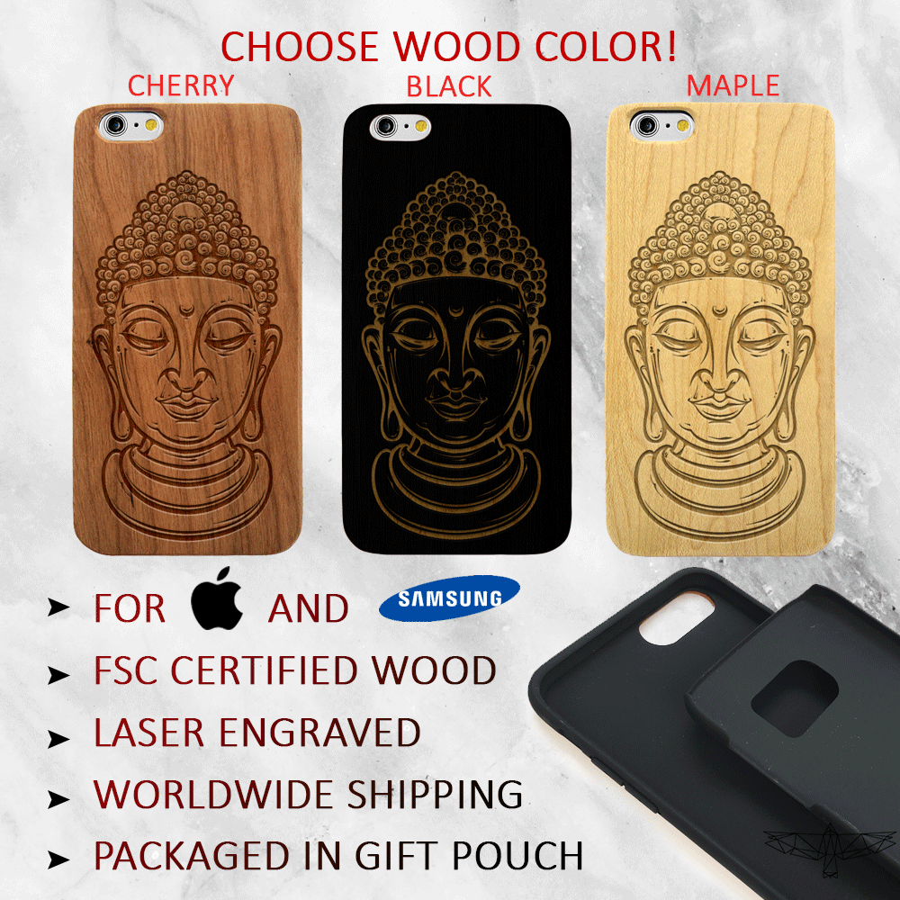 Buddha Head Wood Phone Case