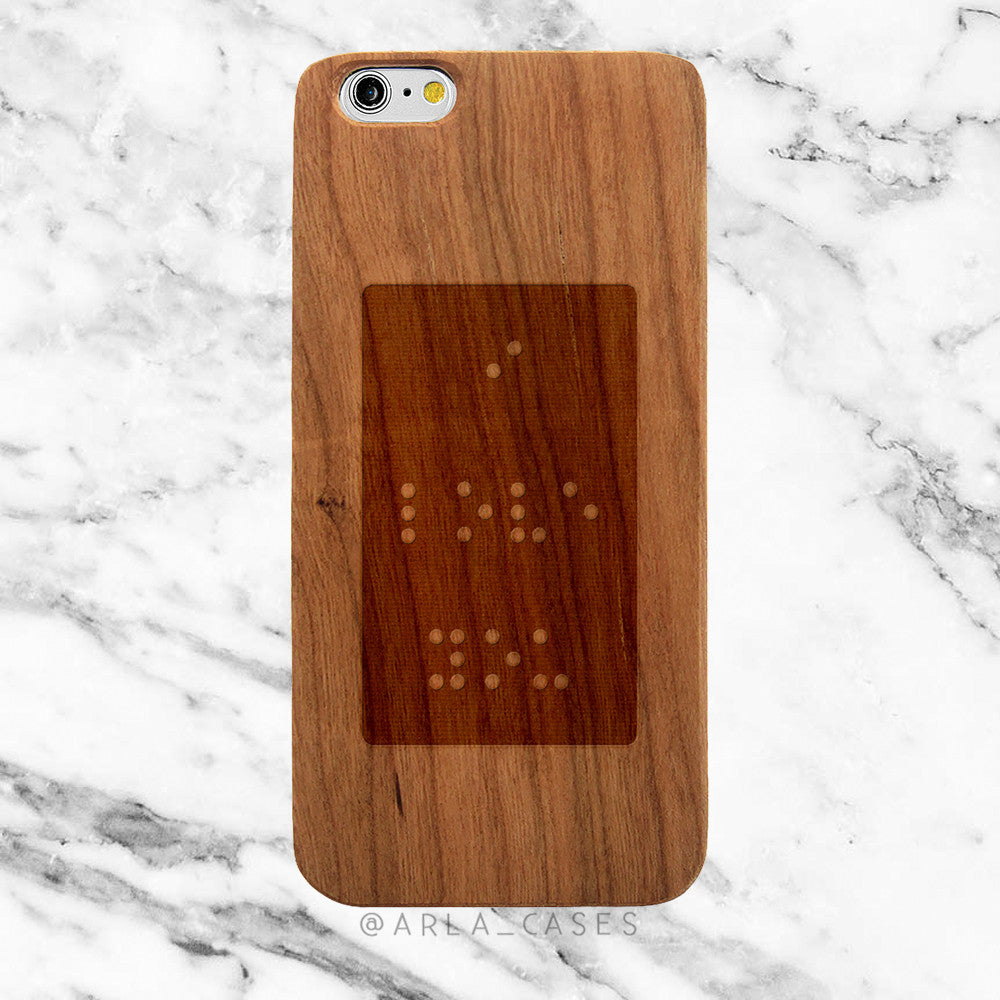 I Love You in Braille on Wood iPhone Case