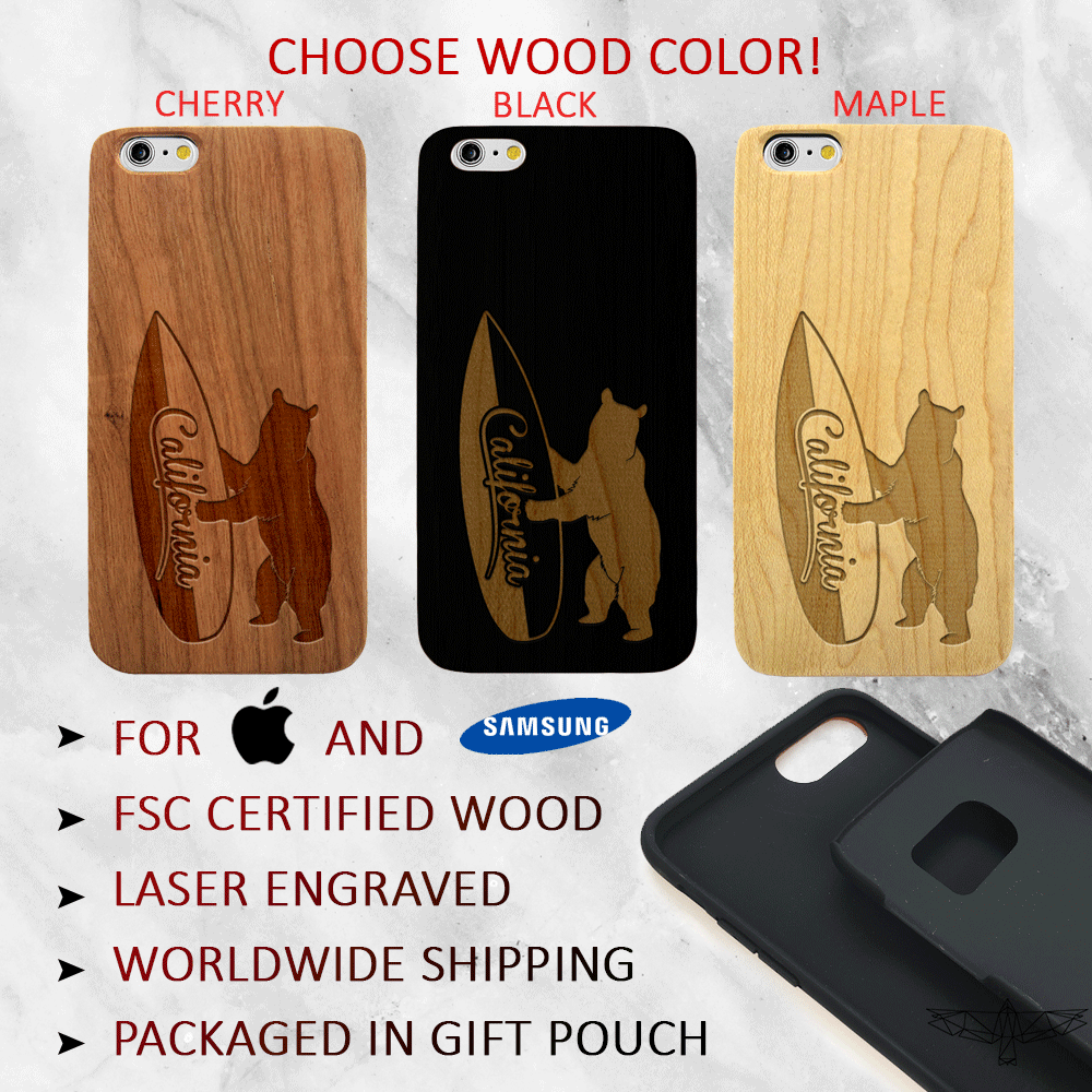 California Surf Bear Wood Phone Case - Wood iPhone and Galaxy Case