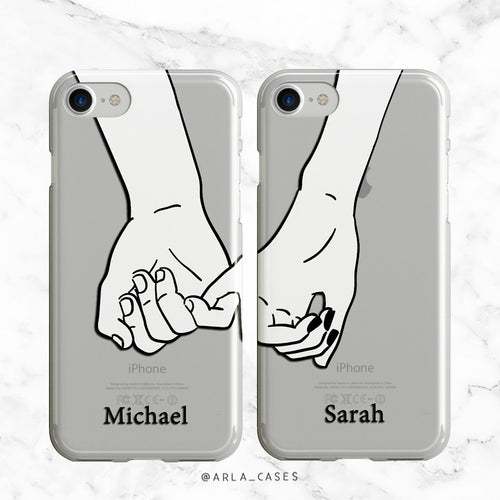 Custom Couples Pinky Promise Phone Case Set