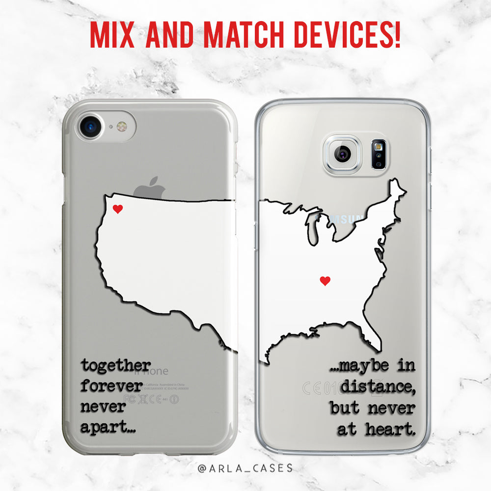 USA Map Long Distance Custom Phone Case Set