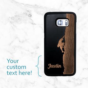 Custom Rock Climber with Text - Wood Phone Case