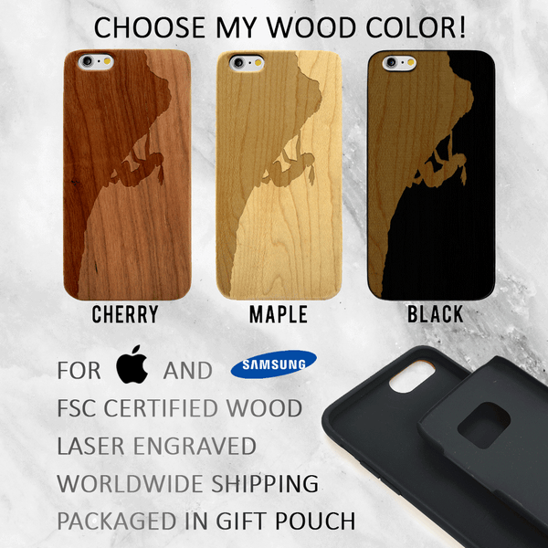 Rock Climber Bouldering Wood Phone Case