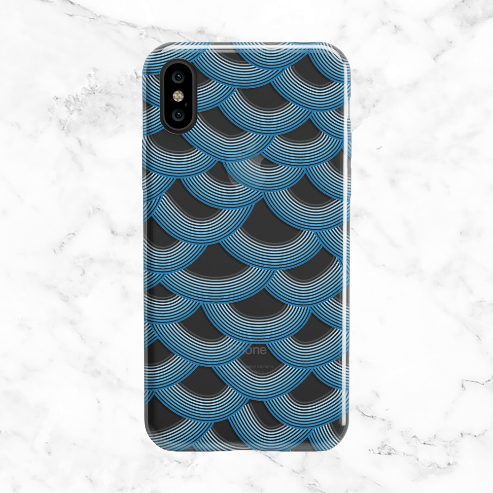 Sea Blue Mermaid Scales Pattern - iPhone and Galaxy Phone Case