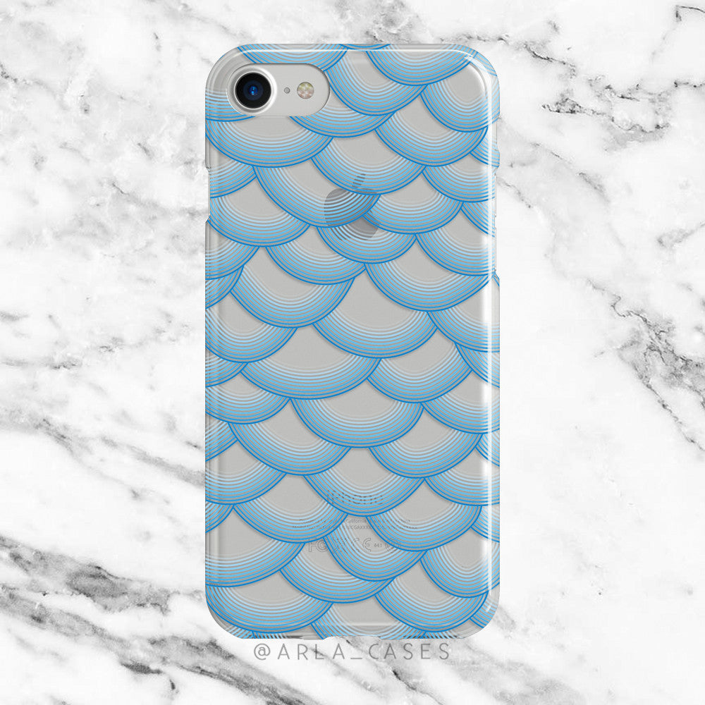 Blue Mermaid Scales on Clear Printed iPhone Case