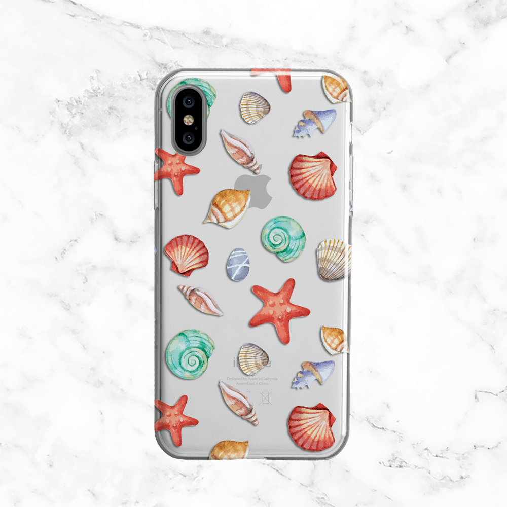 Watercolor SeaShells Pattern TPU Phone Case