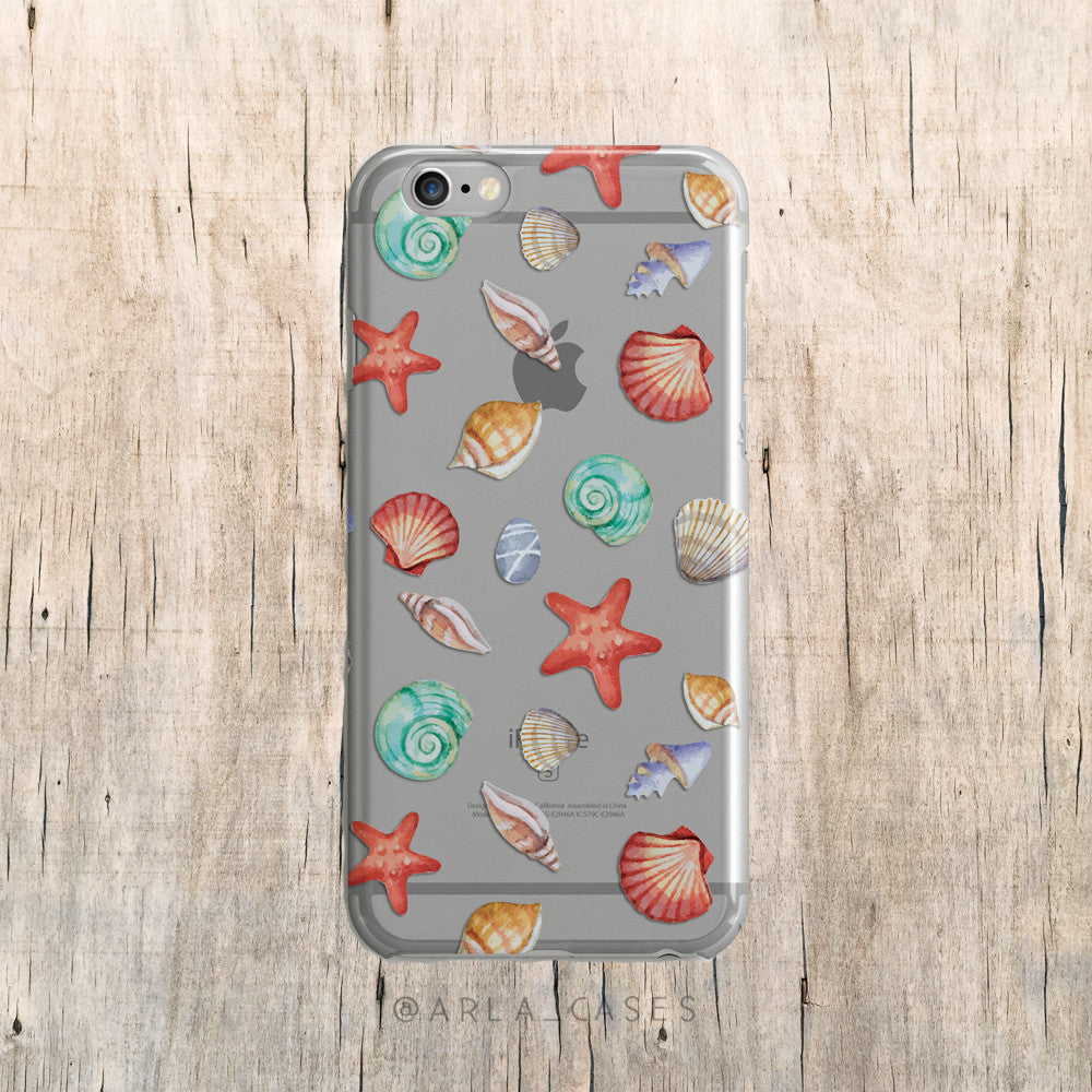 Seashells on Clear Printed iPhone Case