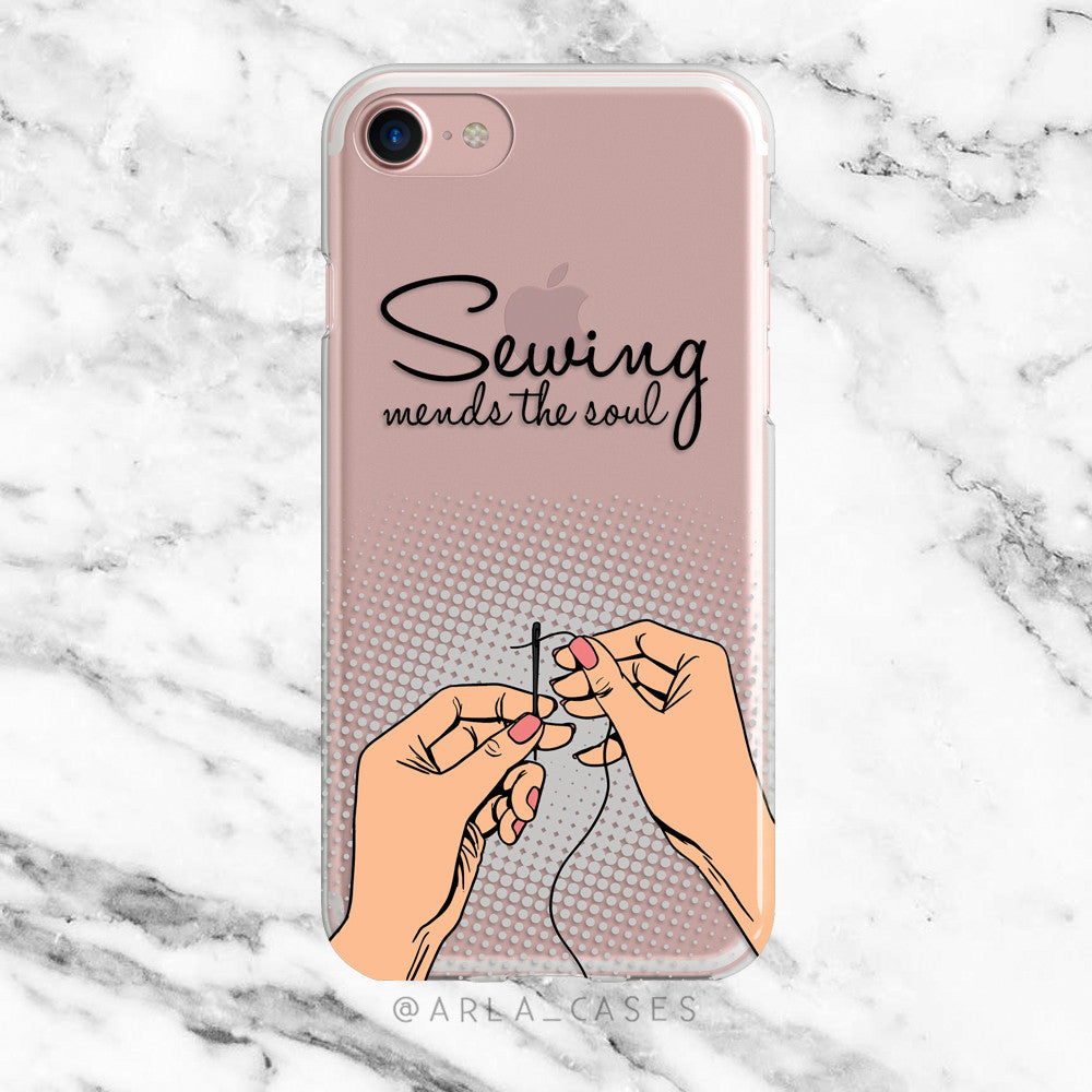 Sewing Mends the Soul on Clear Printed iPhone Case