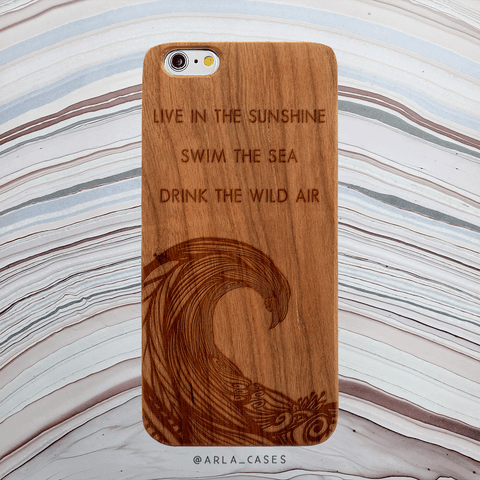 Wave Quote Wood iPhone and Galaxy Case