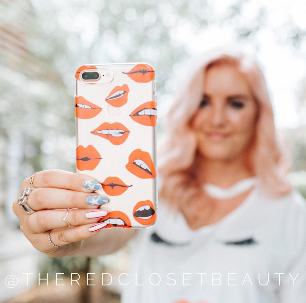 Red Lips - Clear Printed Makeup TPU Phone Case