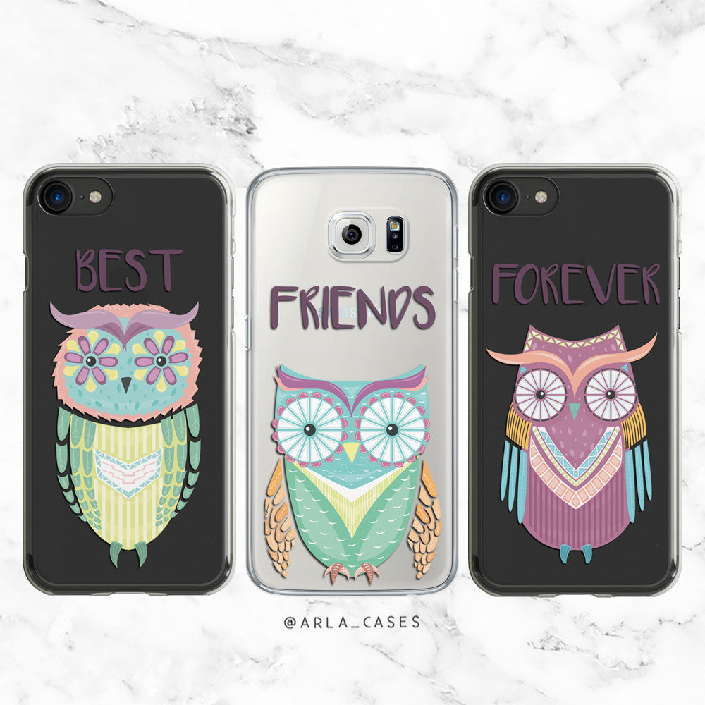 new arrival f93ca 1d58c Best Friends Forever Owls Phone Case Set
