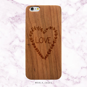 Love Heart Wood Phone Case