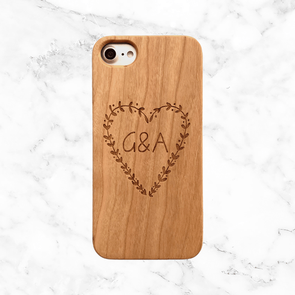 Custom Heart Wood Phone Case