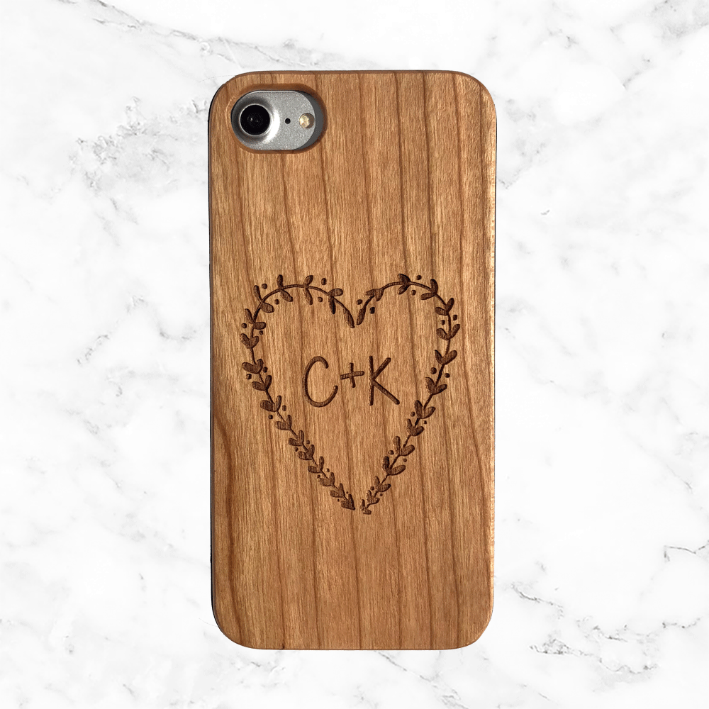 Custom Wood Phone Case - Heart and Initials