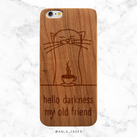 Coffee Cat Wood iPhone and Galaxy Phone Case