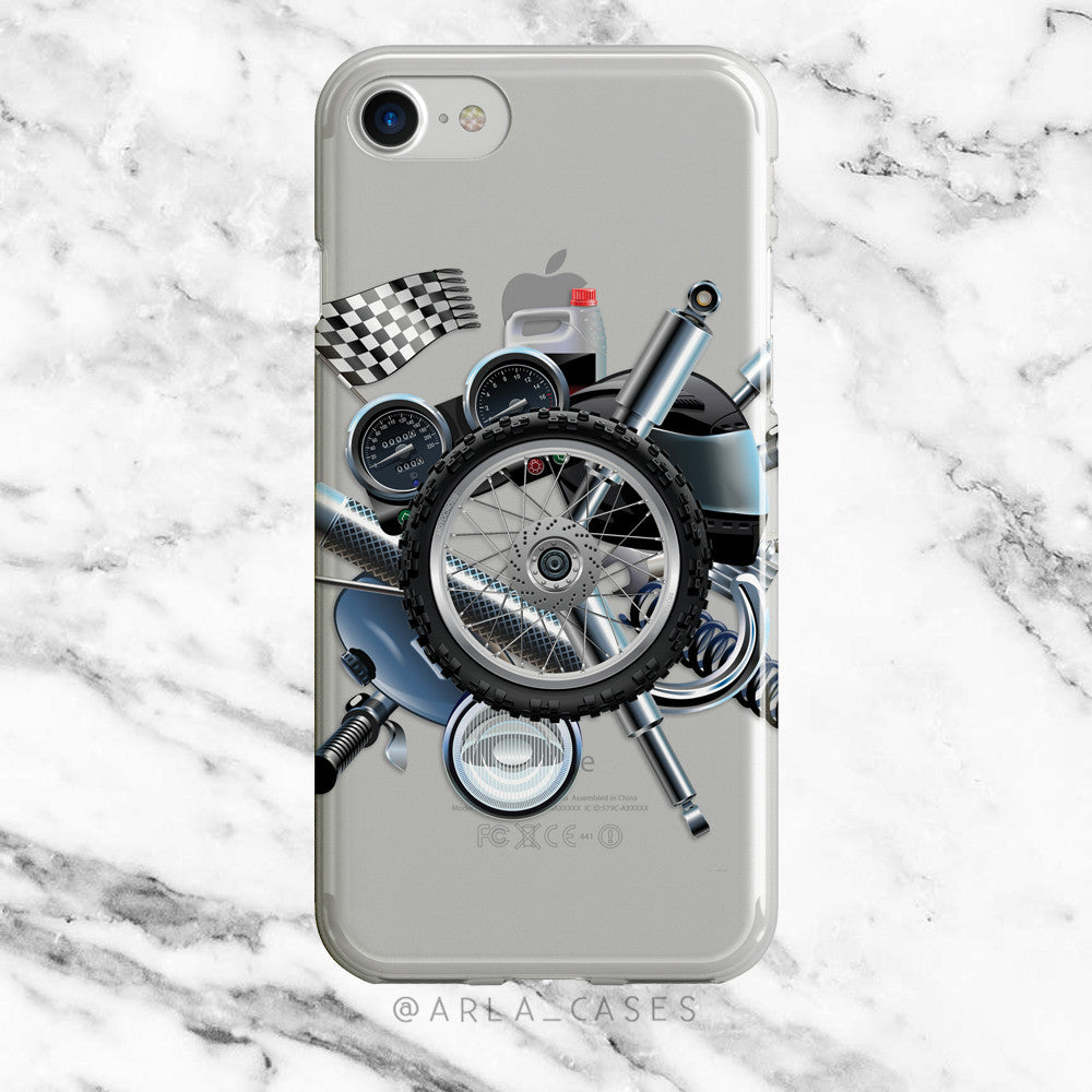 Motorcycle Racing on Clear Printed iPhone Case