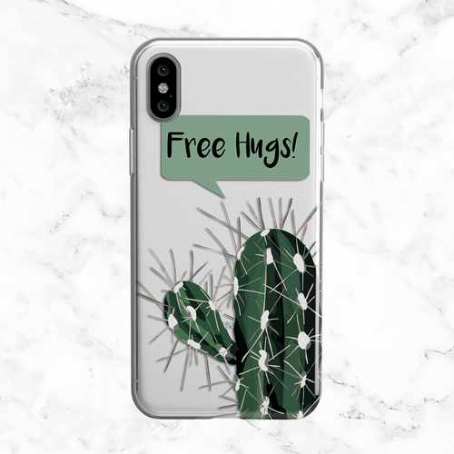 Free Hugs Cactus - iPhone and Galaxy Clear Phone Case