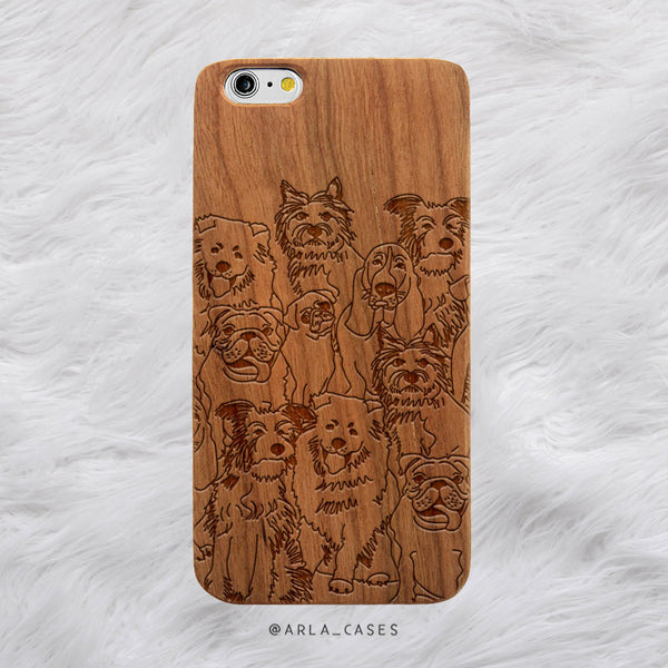 Dog Illustration Wood iPhone Case