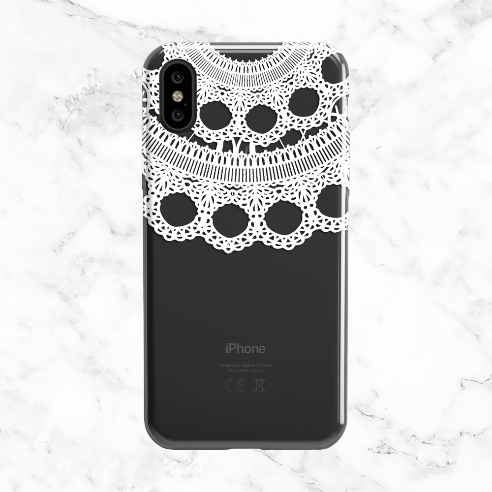 White Wedding Lace Phone Case - Clear Printed TPU