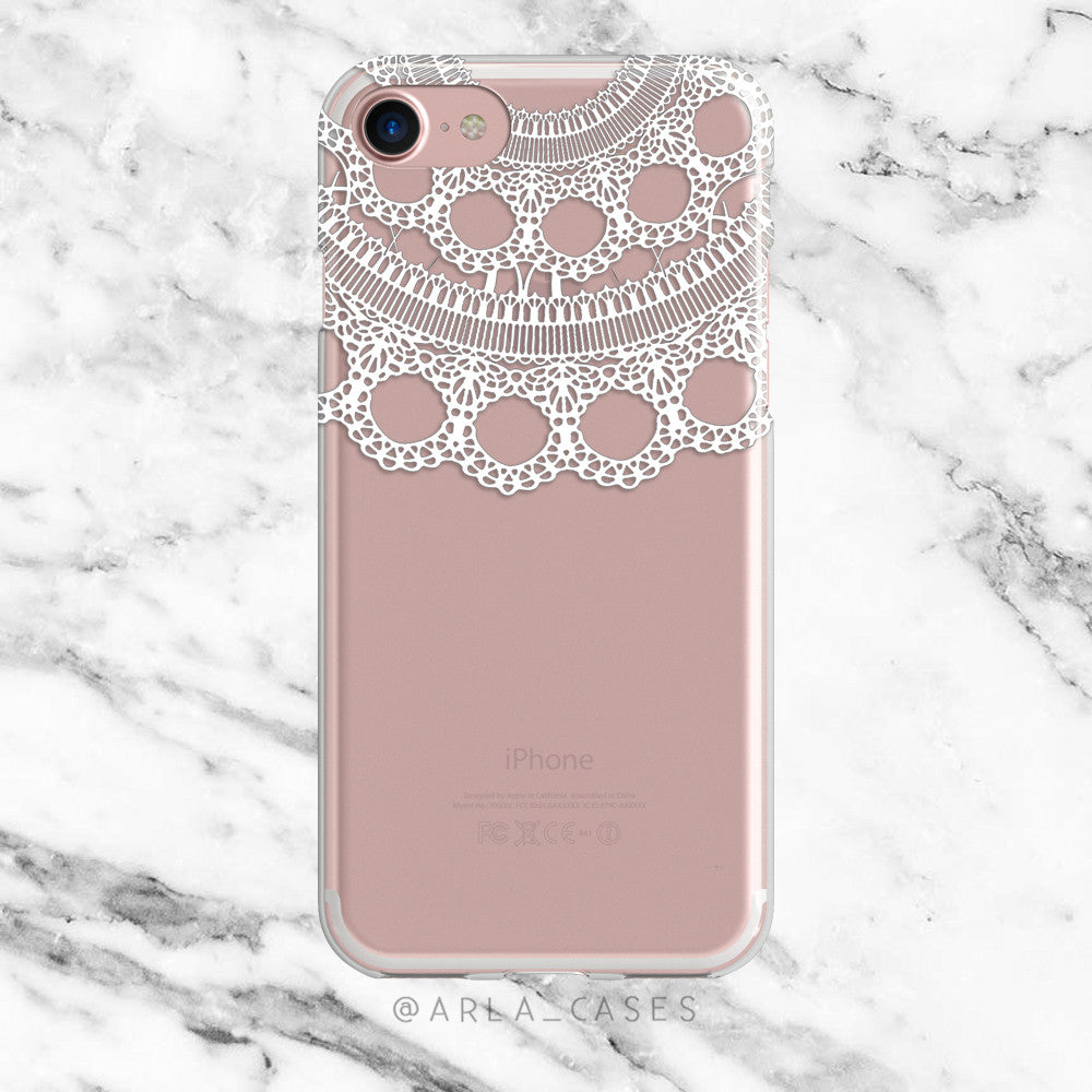 White Wedding Lace on Clear Printed iPhone Case
