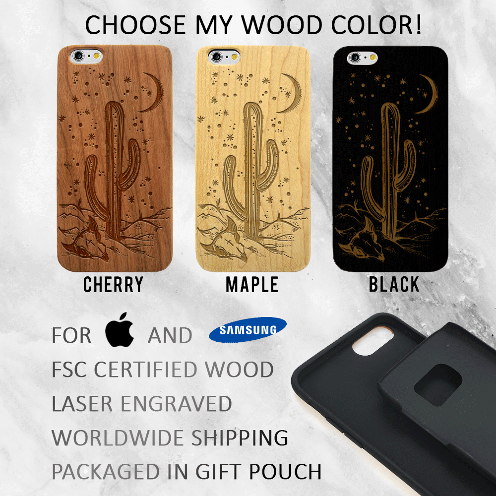 Desert Night Wood Phone Case