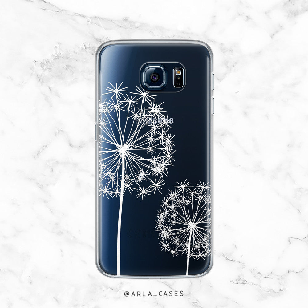 White Dandelion Flower - Clear TPU Phone Case