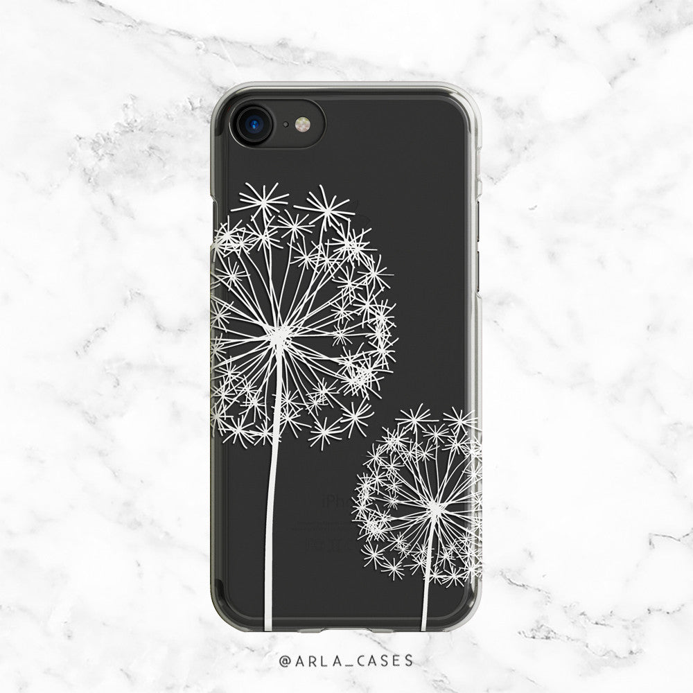 White Dandelion Clear TPU Phone Case