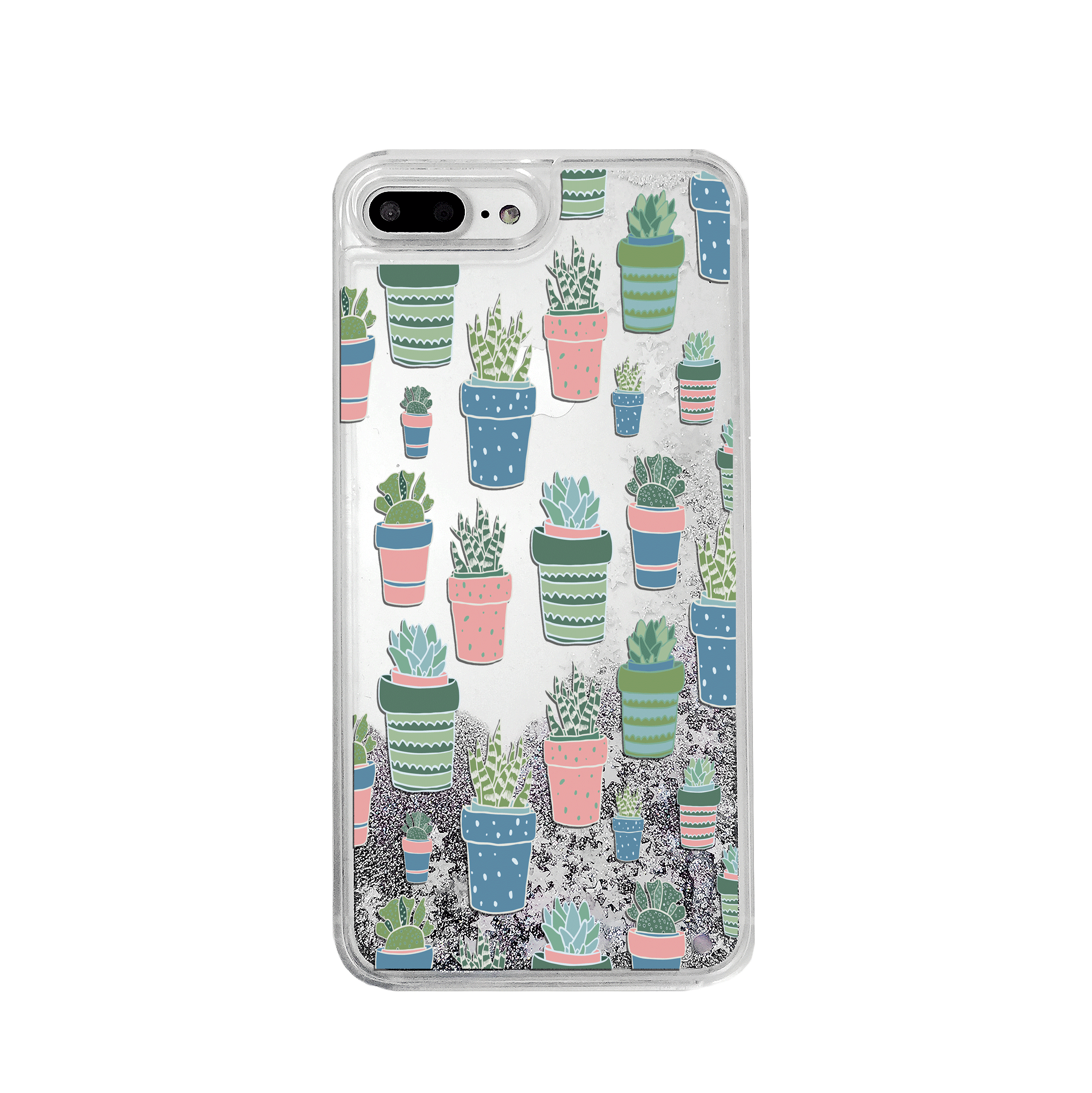 Potted Succulents Silver Glitter Phone Case