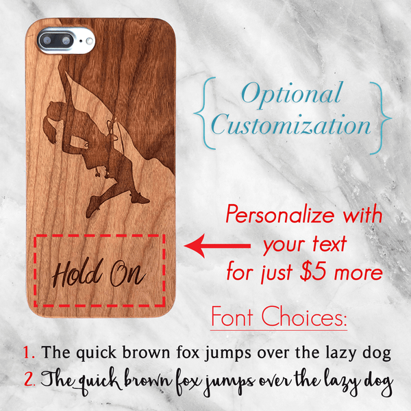 Rock Climbing Wood Phone Case
