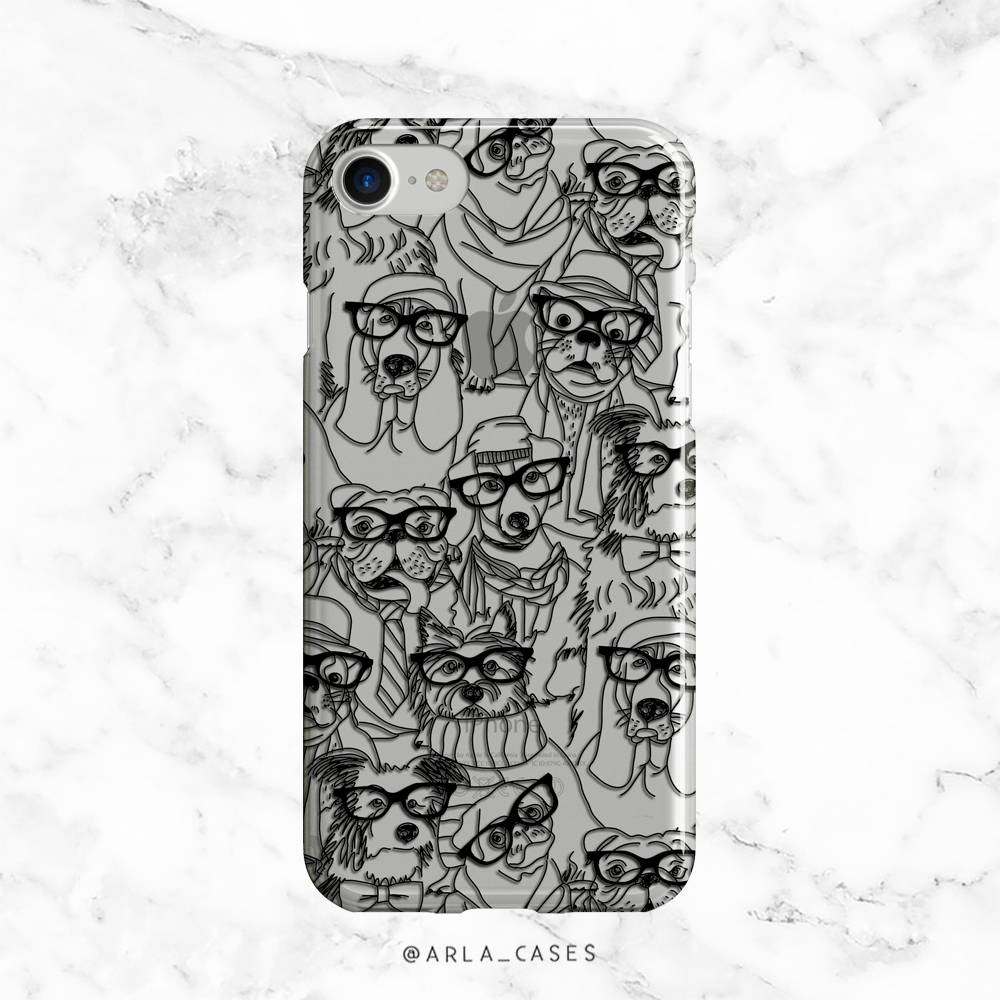 Hipster Dogs Clear iPhone and Galaxy Case