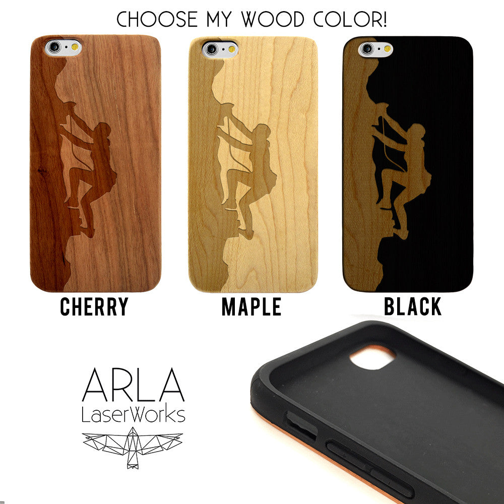 Rock Climber Wood Phone Case