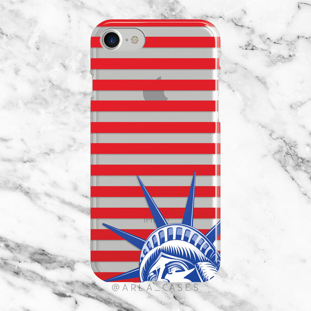 Statue of Liberty on Clear Printed iPhone Case
