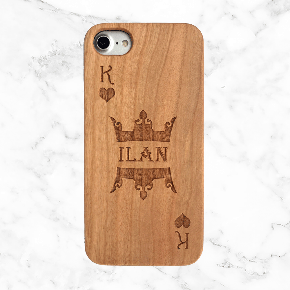 King of Hearts- Custom Name Wood Phone Case