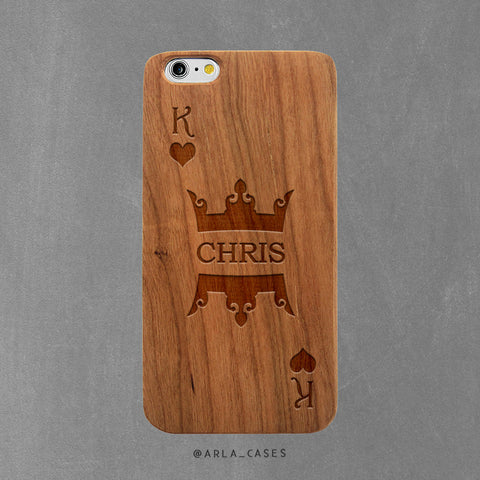 Custom King Name Wood Phone Case