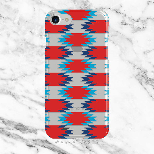 Red and Blue Aztec Pattern on Clear Printed iPhone Case
