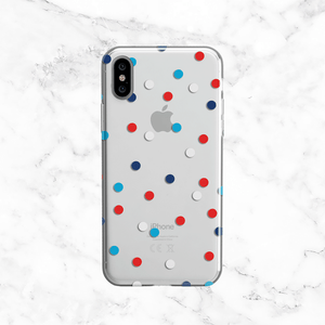 Patriotic Polka Dots Phone Case - Clear TPU with Print