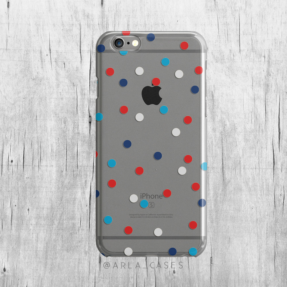 Patriotic Polka Dots on Clear Printed iPhone Case