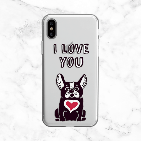 I Love You Bulldog with Heart - Clear TPU Phone Case Cover