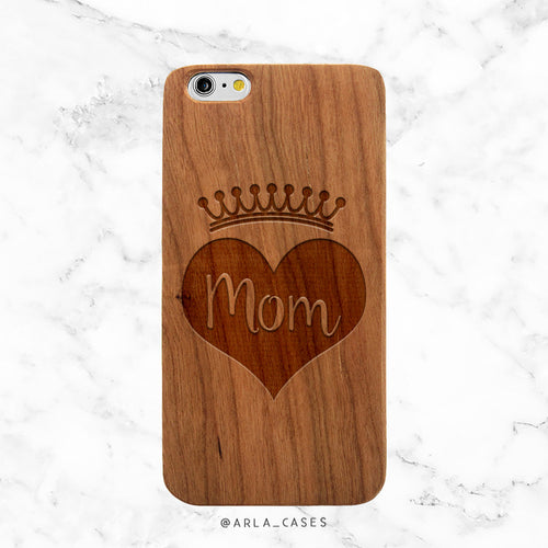 Mom Crown Wood iPhone Case