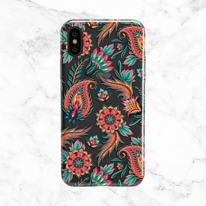 Red Paisley Pattern - Clear TPU Phone Case Cover