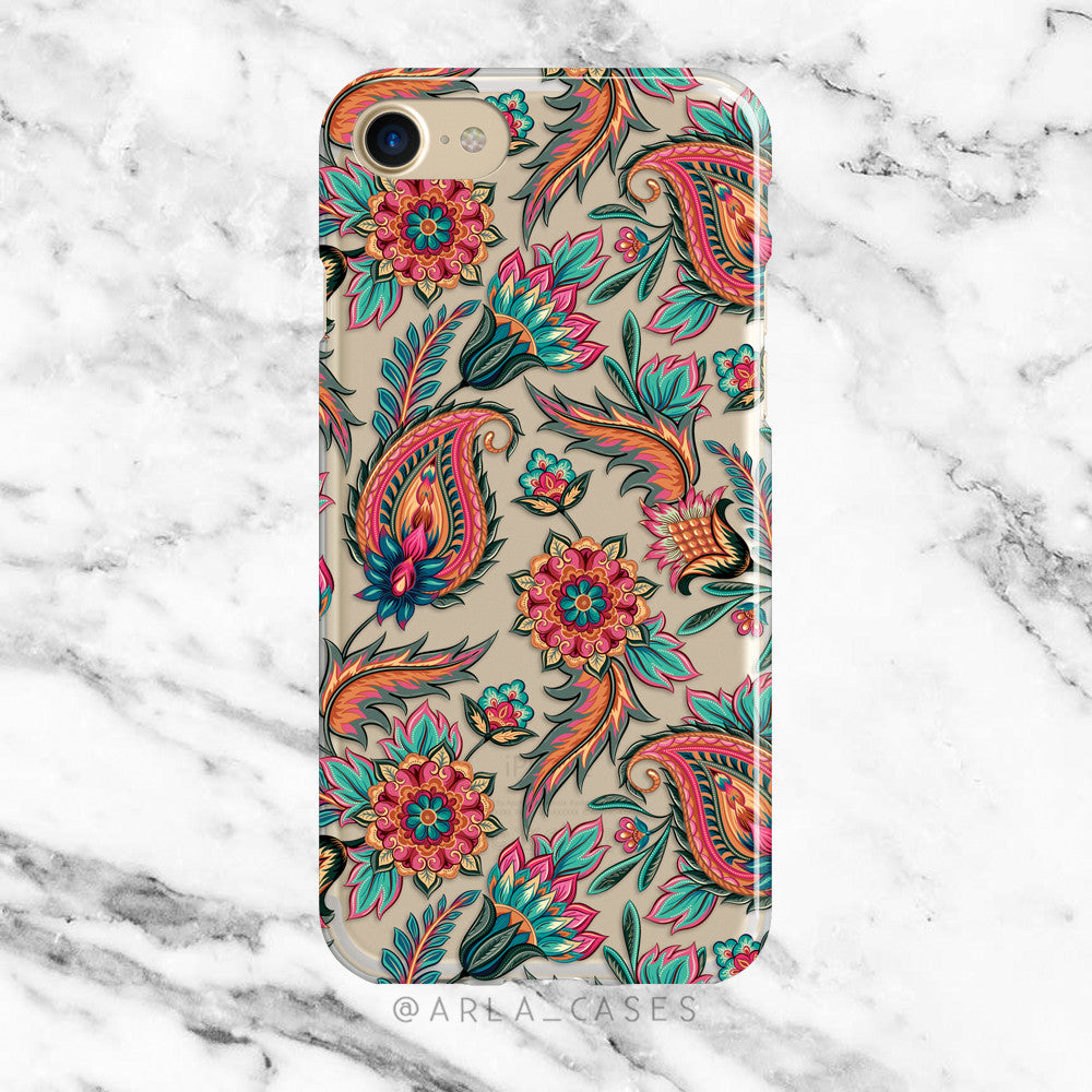 Red Paisley on Clear Printed iPhone Case