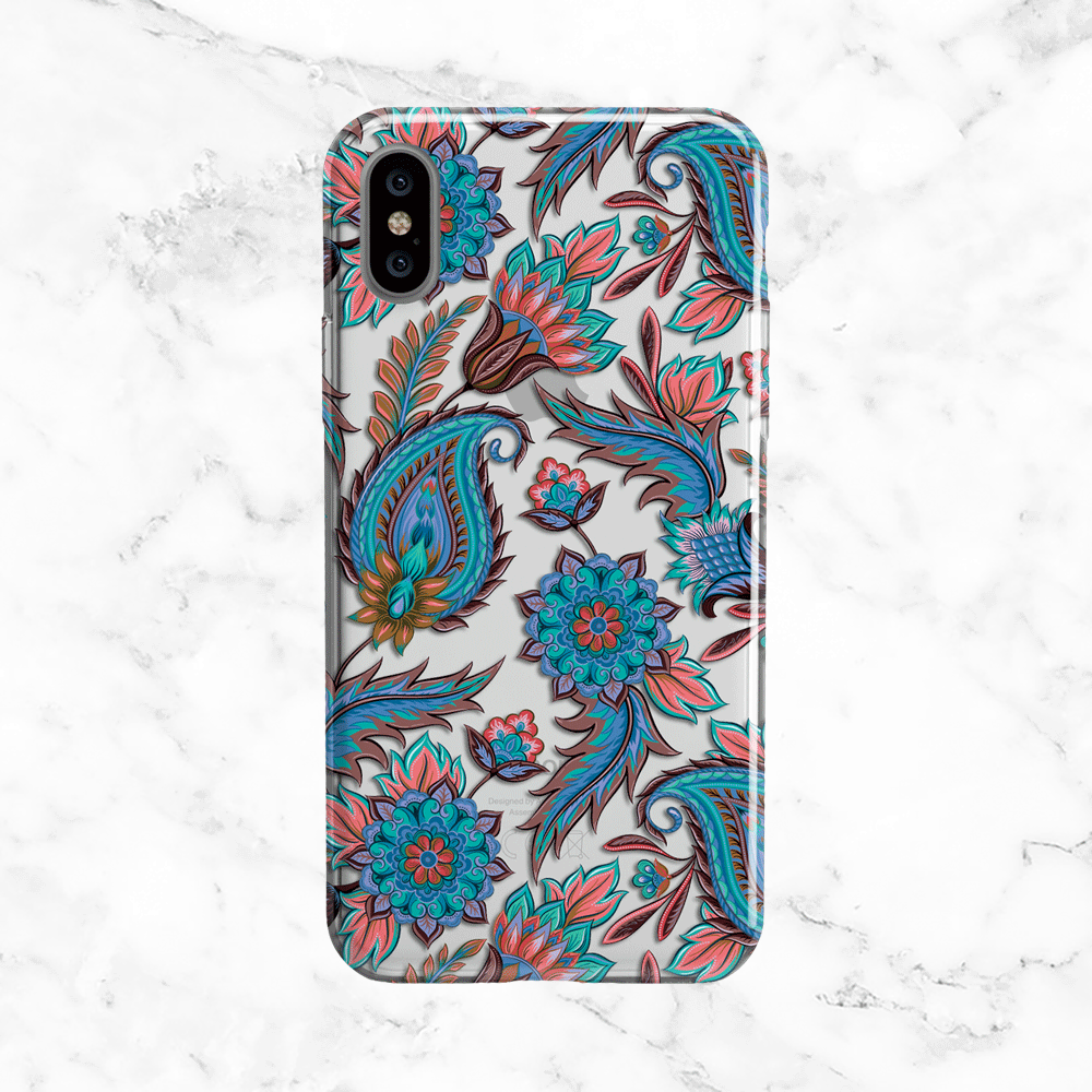 Blue Paisley Pattern - Clear TPU Phone Case Cover
