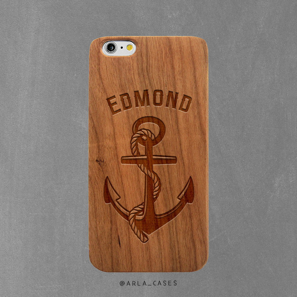 Custom Anchor with Text - iPhone and Galaxy Wood Case