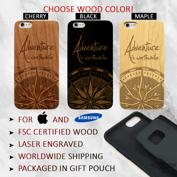 Aristotle Adventure Quote- iPhone and Galaxy Wood Phone Case