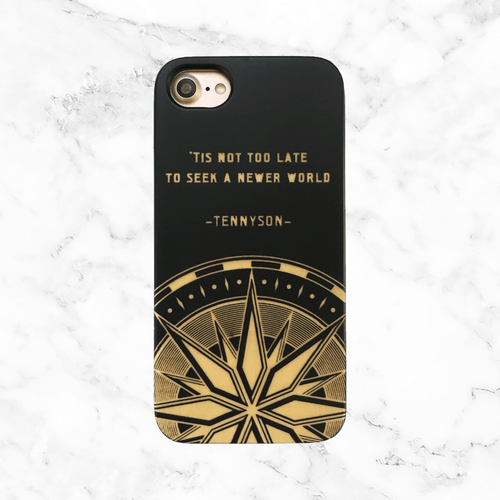Travel and Adventure Quote with Compass - Wood Phone Case