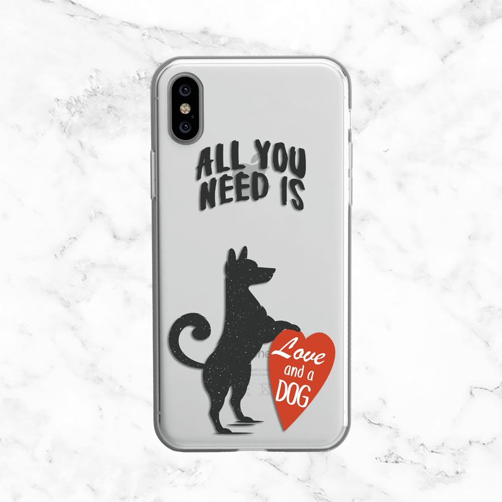 Dog Love Quote - All You Need Is Love and a Dog - Clear Printed TPU Phone Case Cover