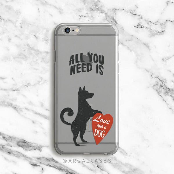 All You Need is Love and a Dog on Clear Printed iPhone Case