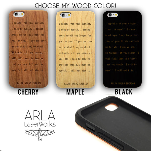 Ralph Waldo Emerson Quote- iPhone and Galaxy Wood Phone Case