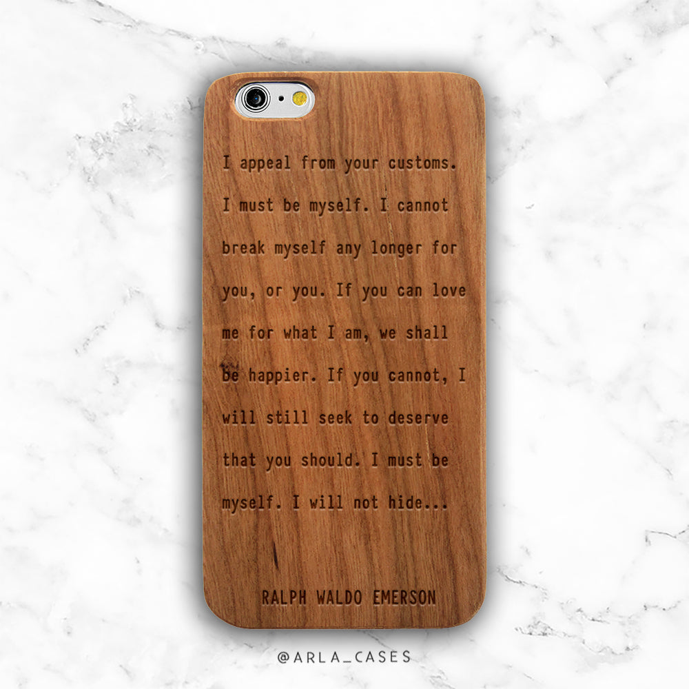 Ralph Waldo Emerson Quote Wood iPhone Case