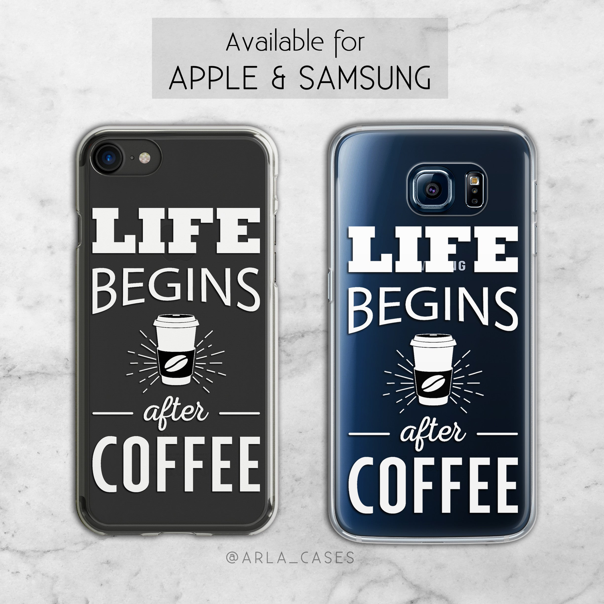 Life Begins After Coffee - Clear TPU Phone Case Cover
